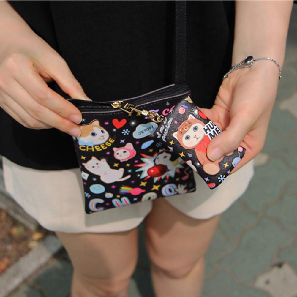 Black patch - Choo Choo cat small crossbody bag