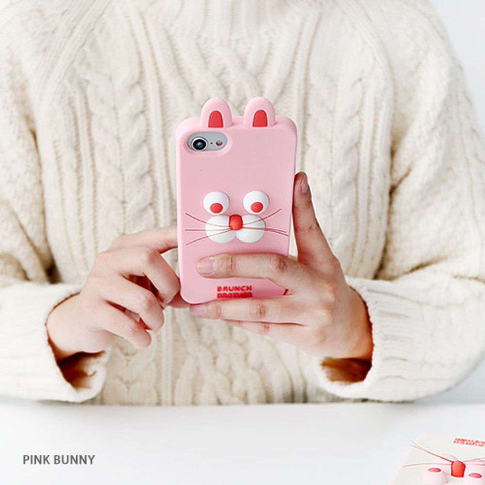Pink bunny - Brunch brother silicone case for iPhone 8 7 6S 6