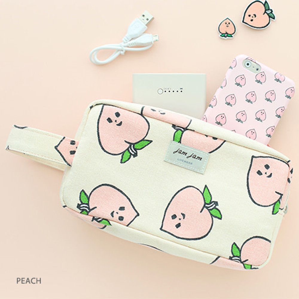 Peach - Jam Jam canvas zipper pouch with handle