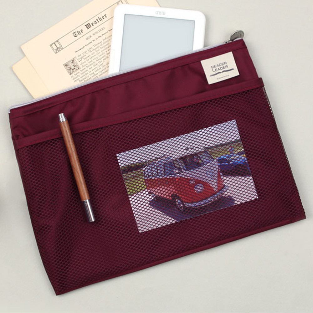 Burgundy - Reader leader mesh pocket file pouch