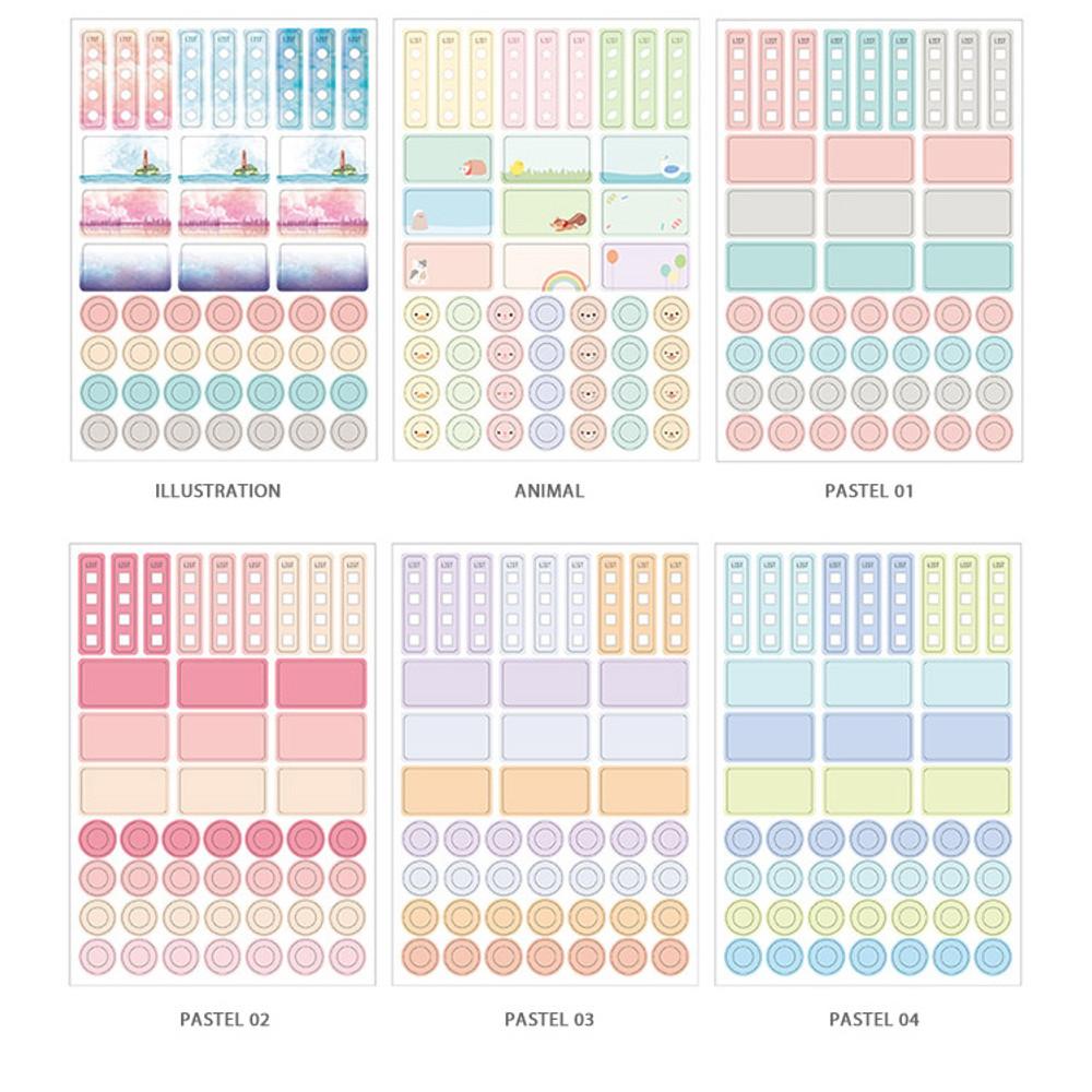 Option - Colorful deco transparent clear sticker set