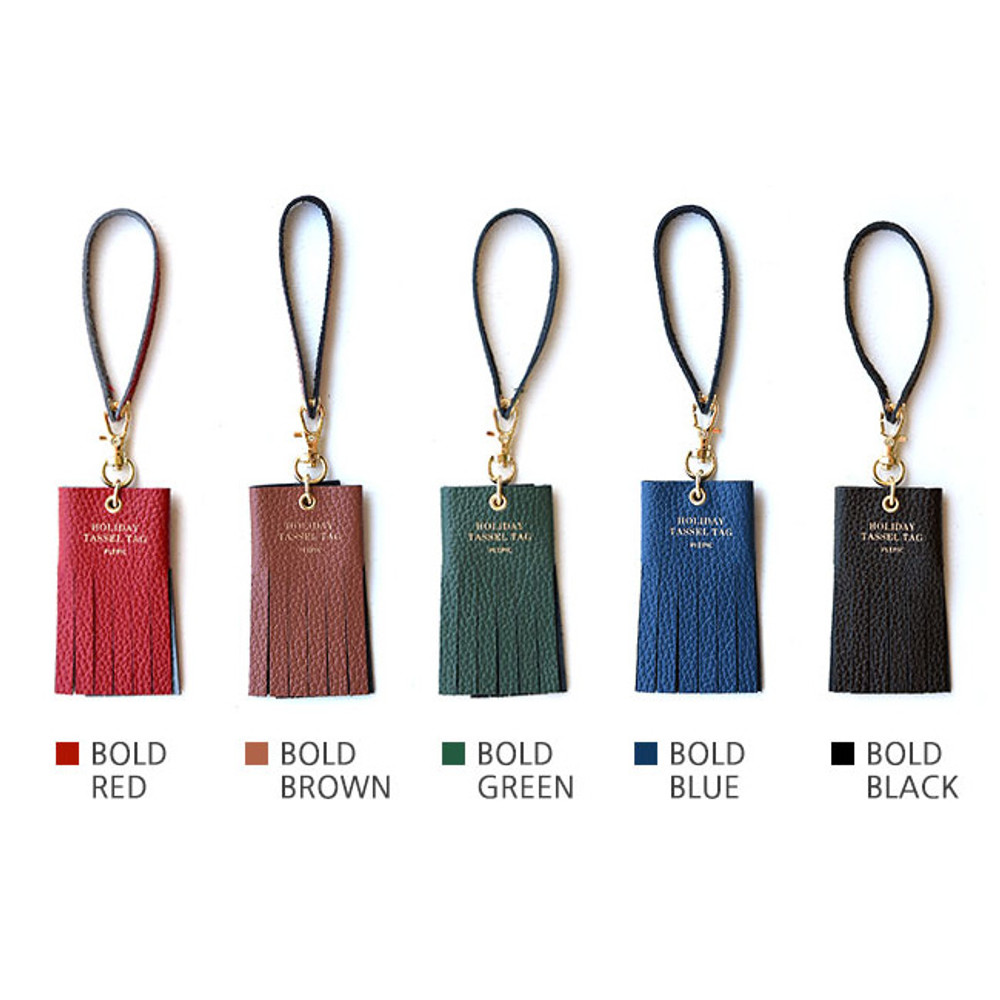 Colors of Holiday cowhide leather tassel luggage name tag