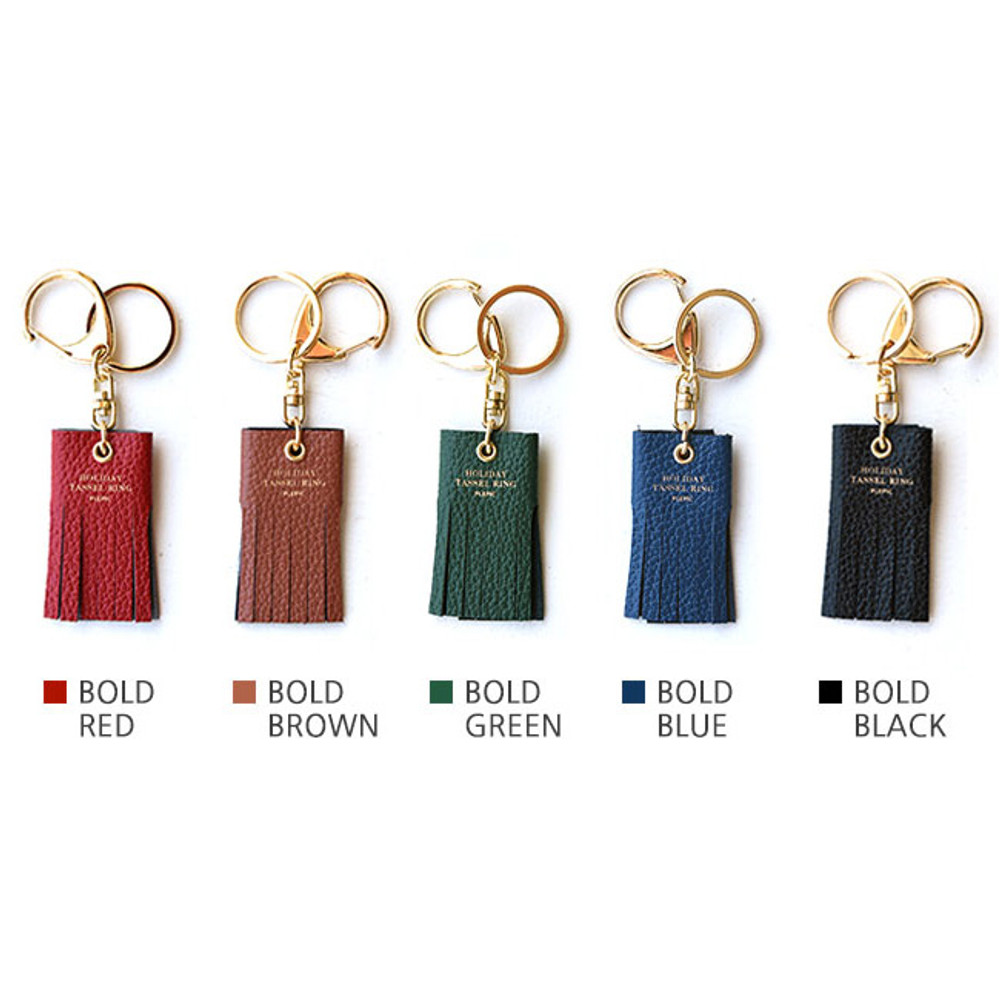 Colors of Holiday cowhide leather tassel key ring