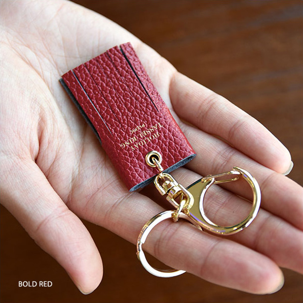 Bold red - Holiday cowhide leather tassel key ring