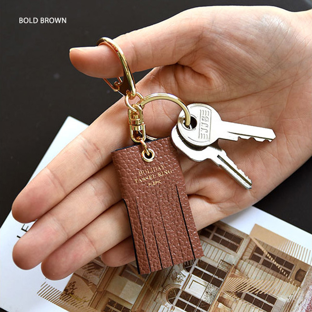 Bold brown - Holiday cowhide leather tassel key ring