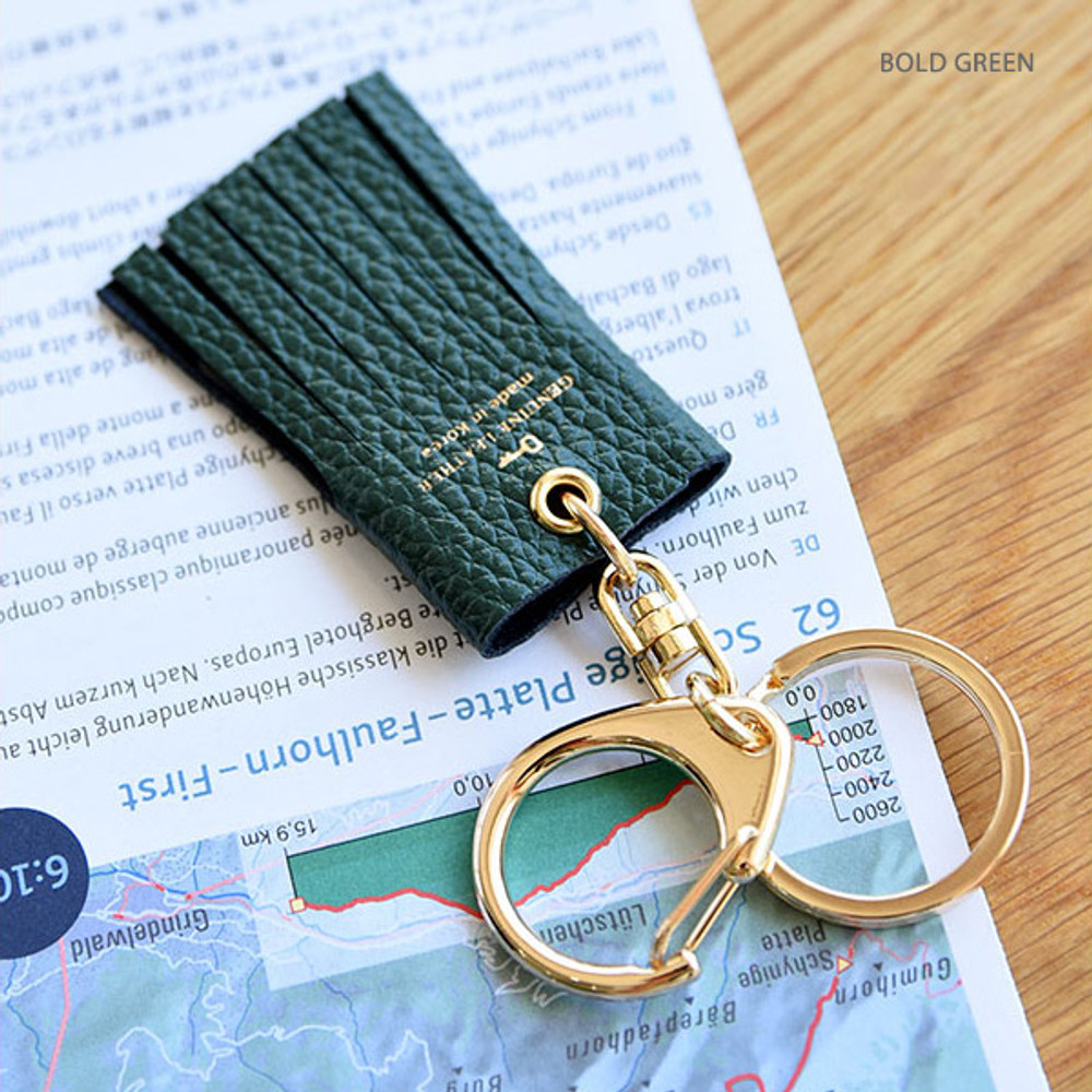 Bold green - Holiday cowhide leather tassel key ring