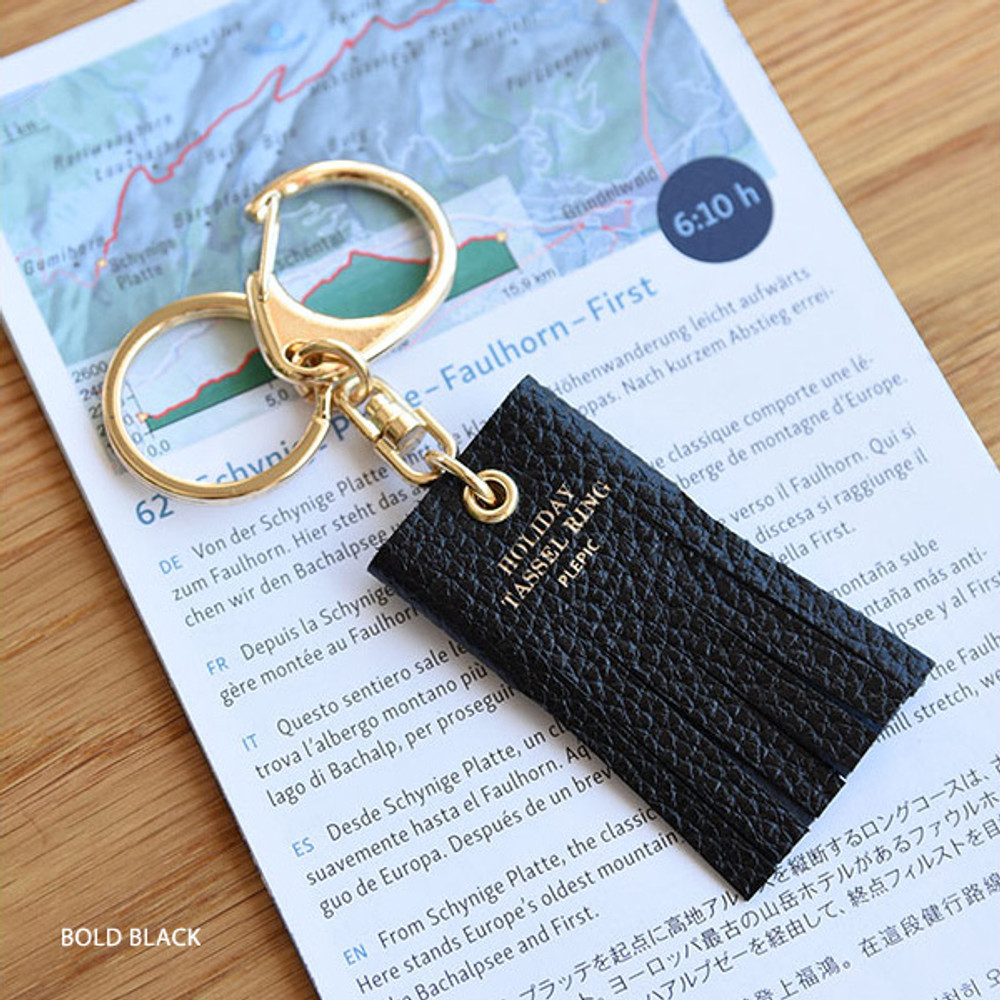 Bold black - Holiday cowhide leather tassel key ring