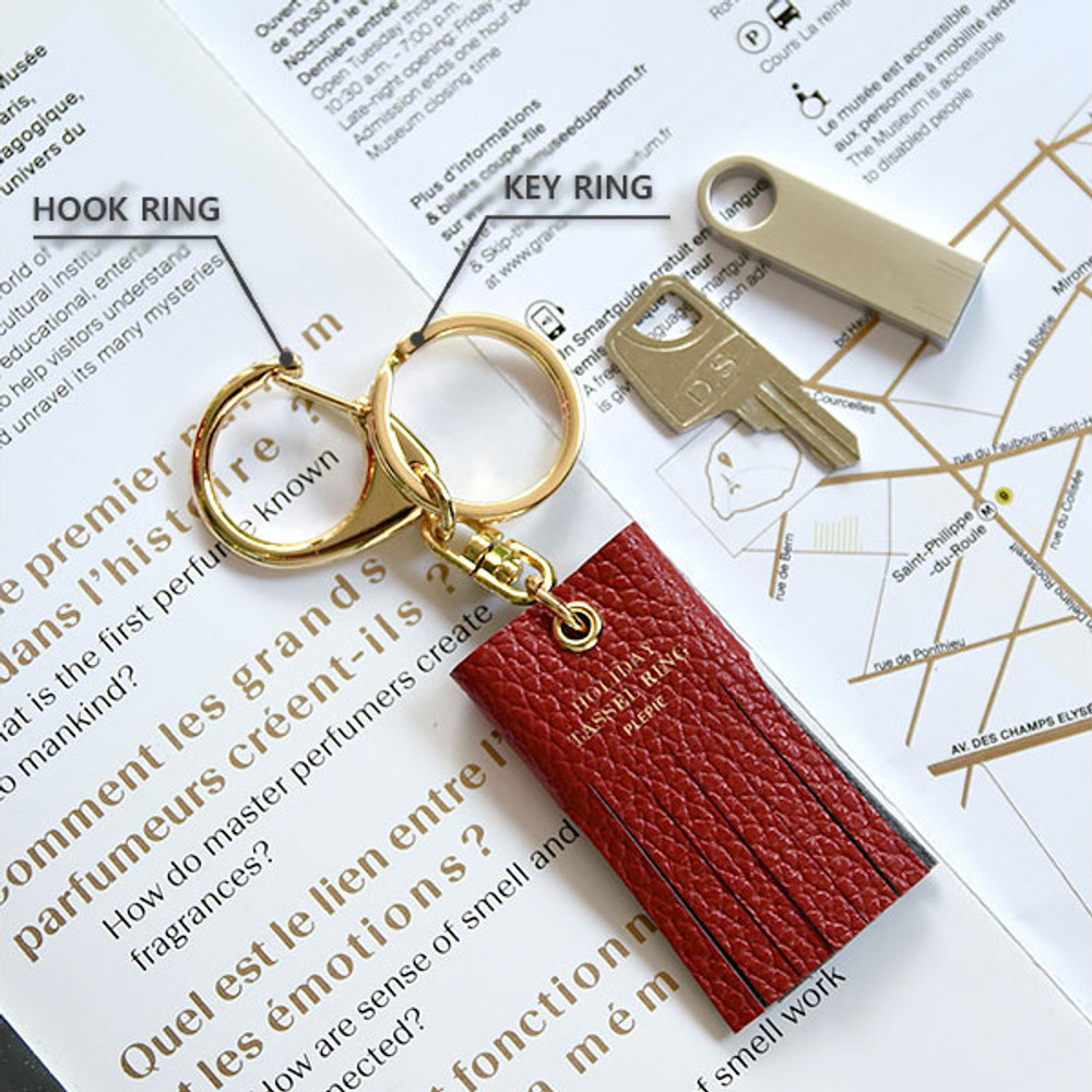 Ring - Holiday cowhide leather tassel key ring