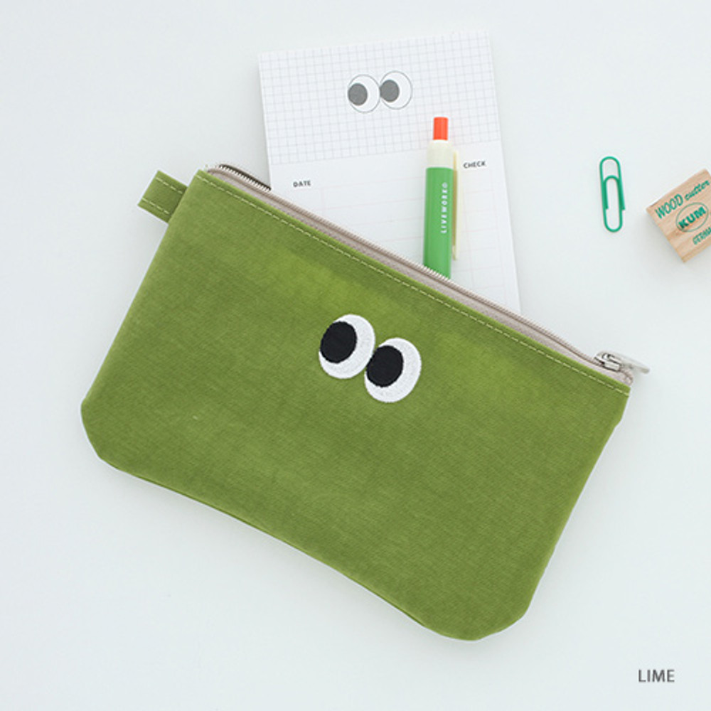 Lime - Som Som stitch pocket zipper pouch