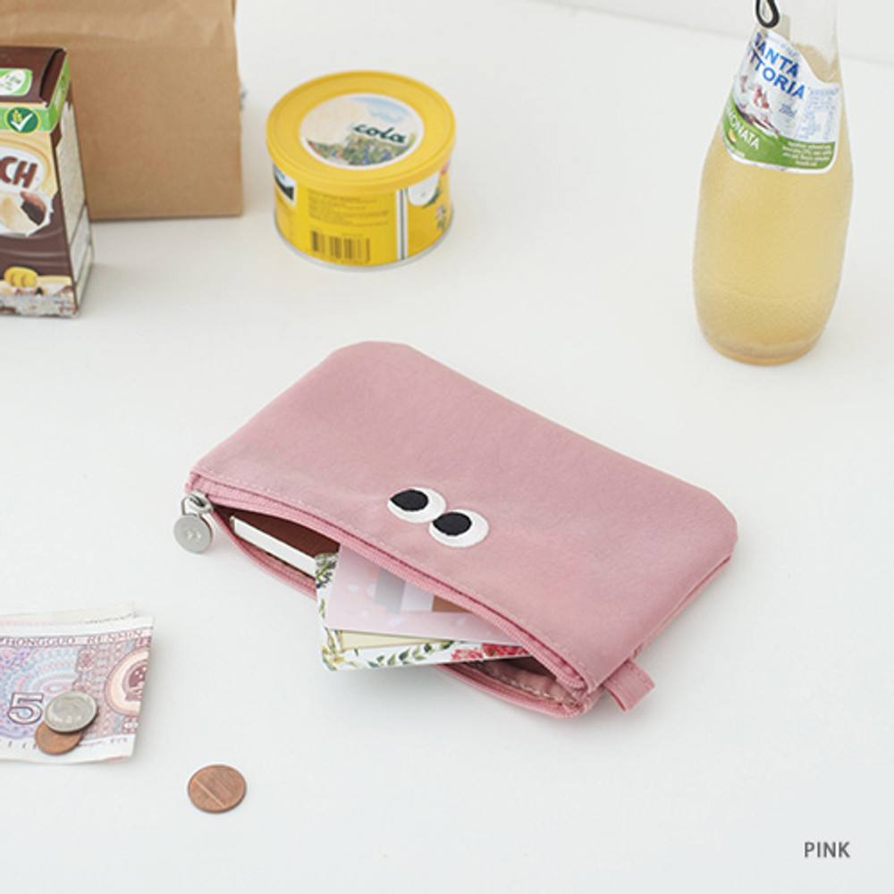 Pink - Som Som stitch pocket zipper pouch
