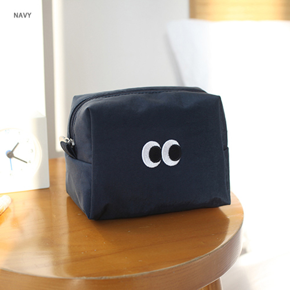 Navy - Som Som stitch cosmetic makeup zipper pouch