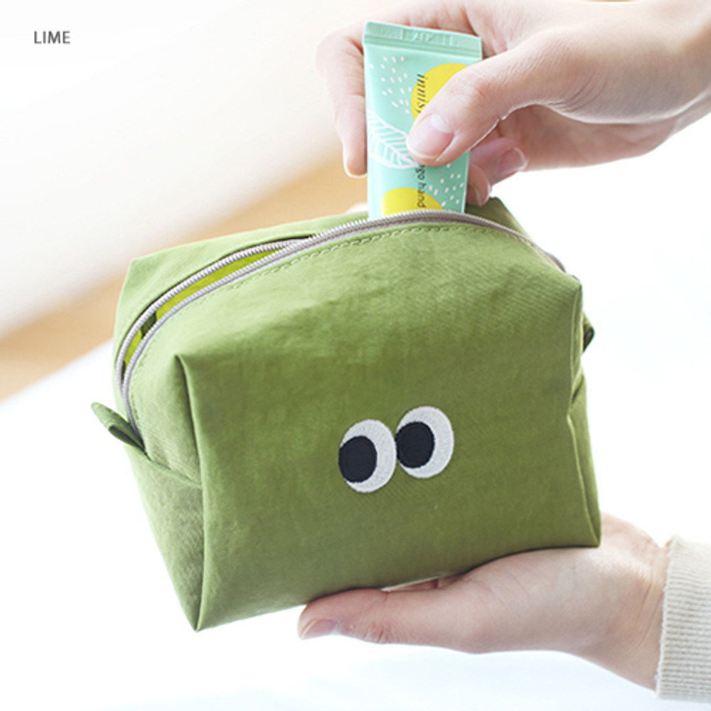 Lime - Som Som stitch cosmetic makeup zipper pouch