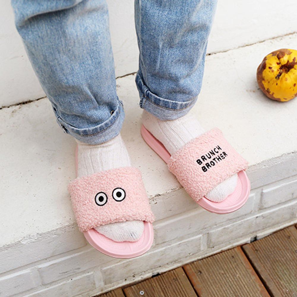 Pink -Brunch brother pom pom slide sandal