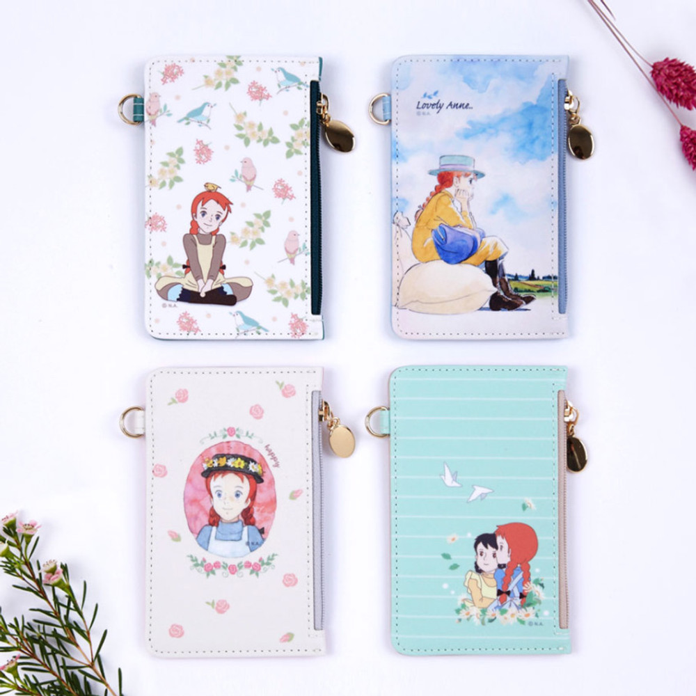 Anne of green gables zip flat card case with strap