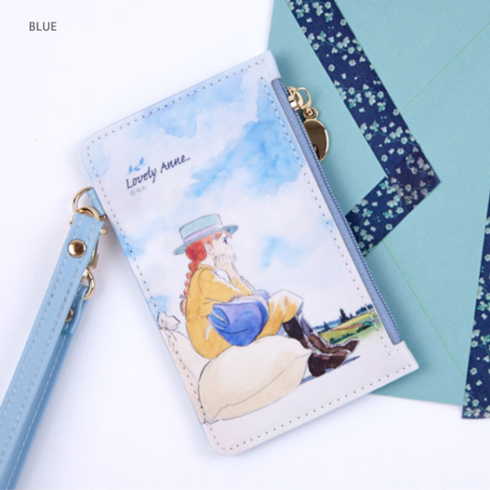 Blue - Anne of green gables zip flat card case with strap