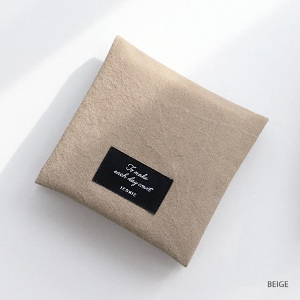 Beige - Plain secret daily cotton pouch