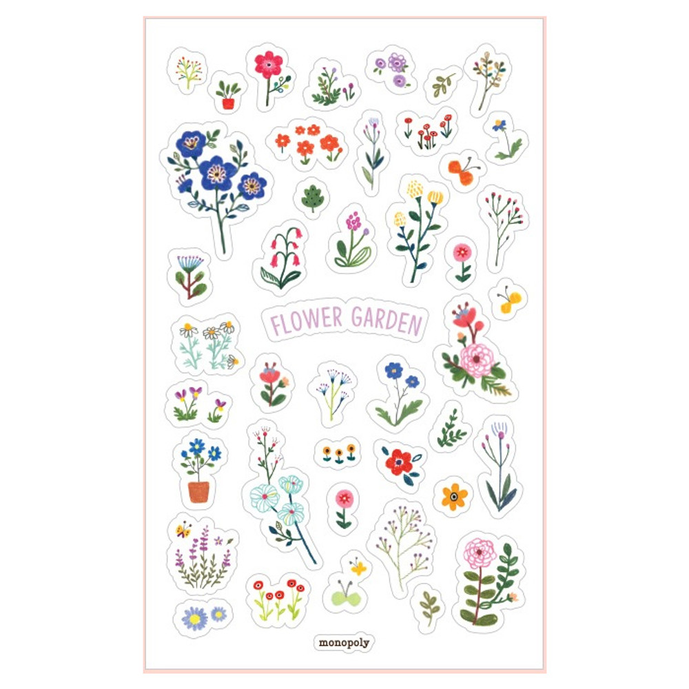 Toffeenut friends transparent deco sticker - Flower garden