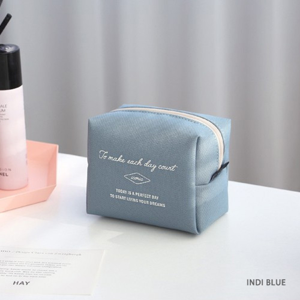 Indi blue - ICONIC Plain cosmetic makeup small zipper pouch