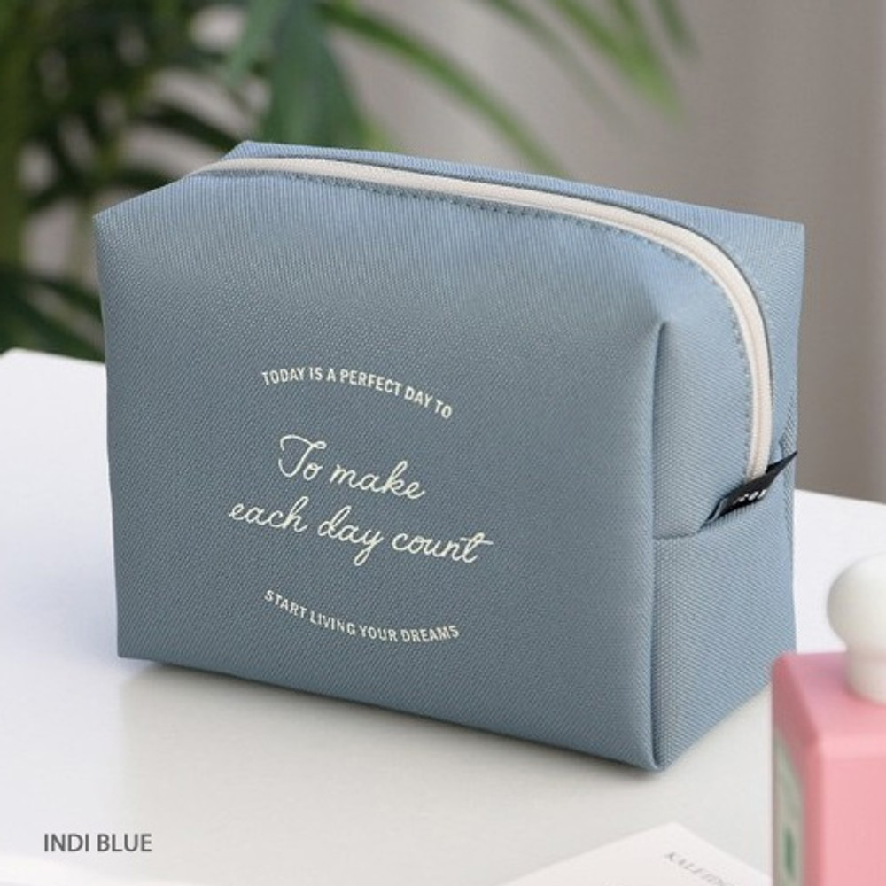 Indi blue - ICONIC Plain cosmetic makeup medium zipper pouch