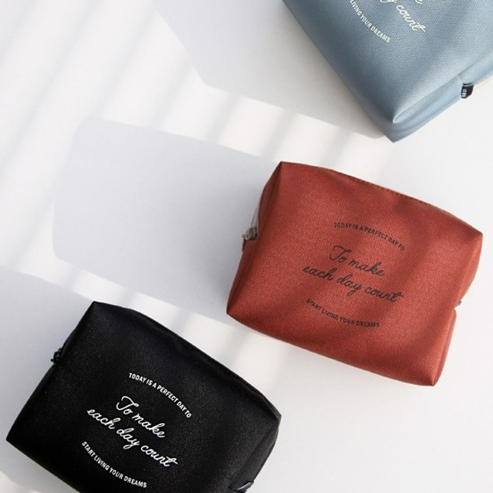 ICONIC Plain cosmetic makeup medium zipper pouch