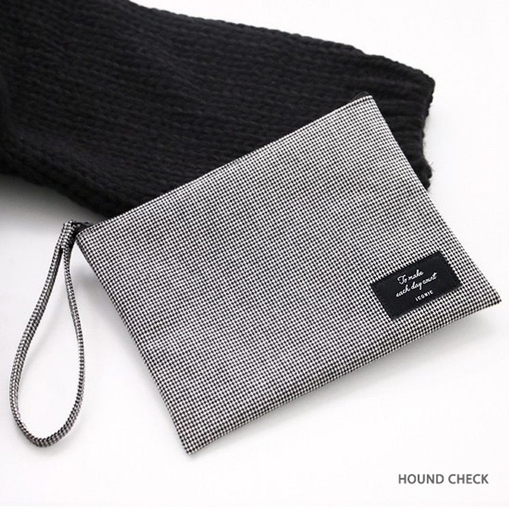 Hound check - ICONIC Plain cotton flat zipper large pouch with strap