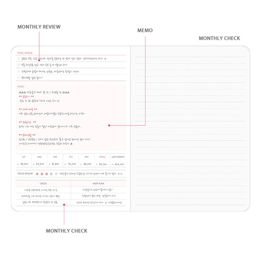 Monthly check - Pleple Better than today 1 month undated daily planner agenda