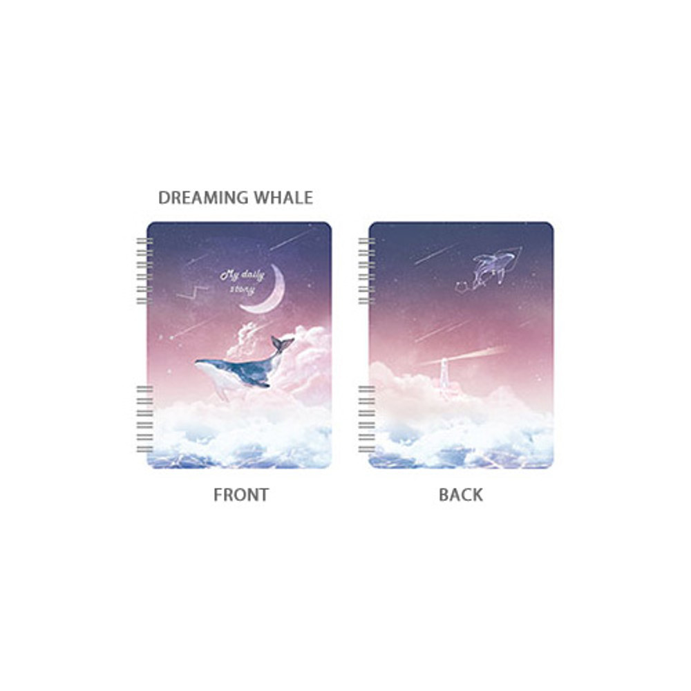 Dreaming whale -Pleple My story spiral bound undated daily diary planner