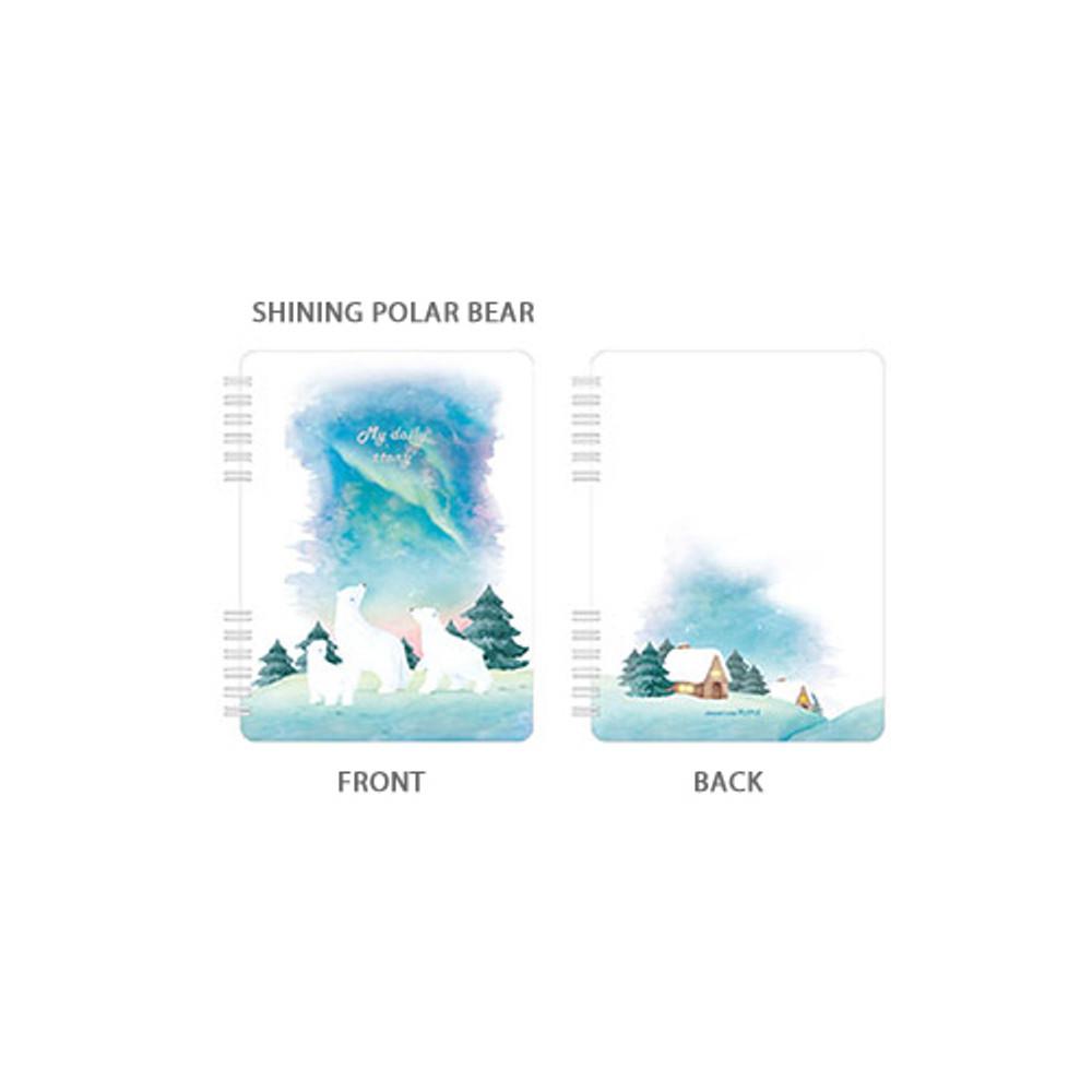 Shining polar bear - Pleple My story spiral bound undated daily diary planner