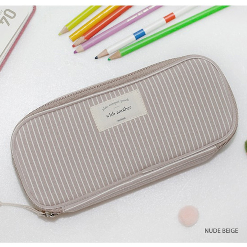 Nude beige - Donbook Wish another plain multi zip around large pouch