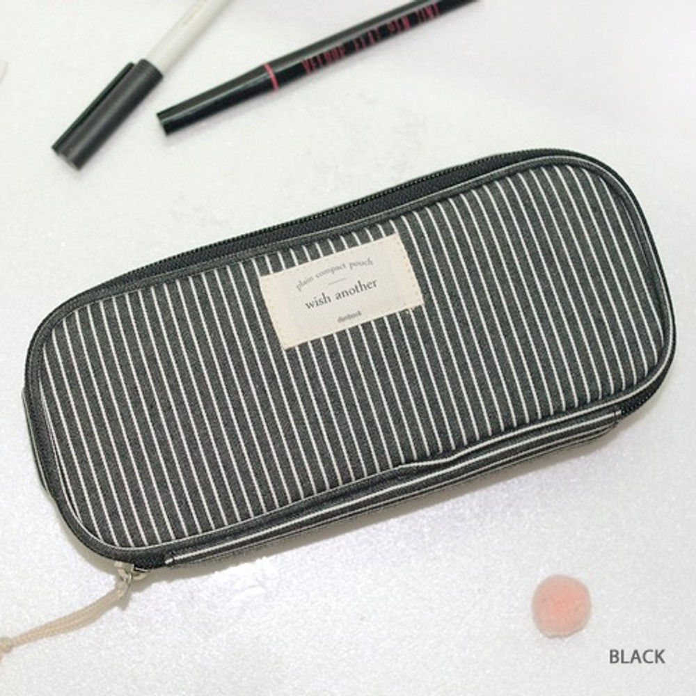 Black - Donbook Wish another plain multi zip around large pouch