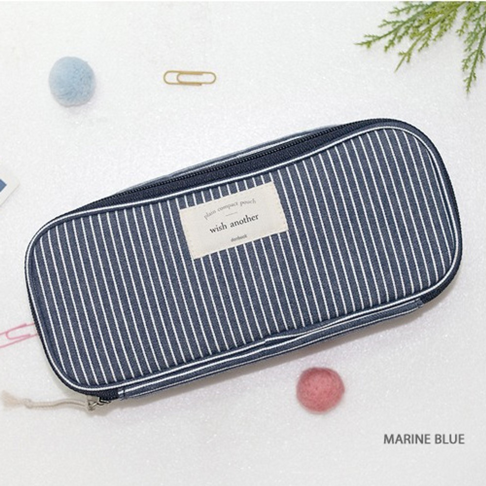 Marine blue - Donbook Wish another plain multi zip around large pouch