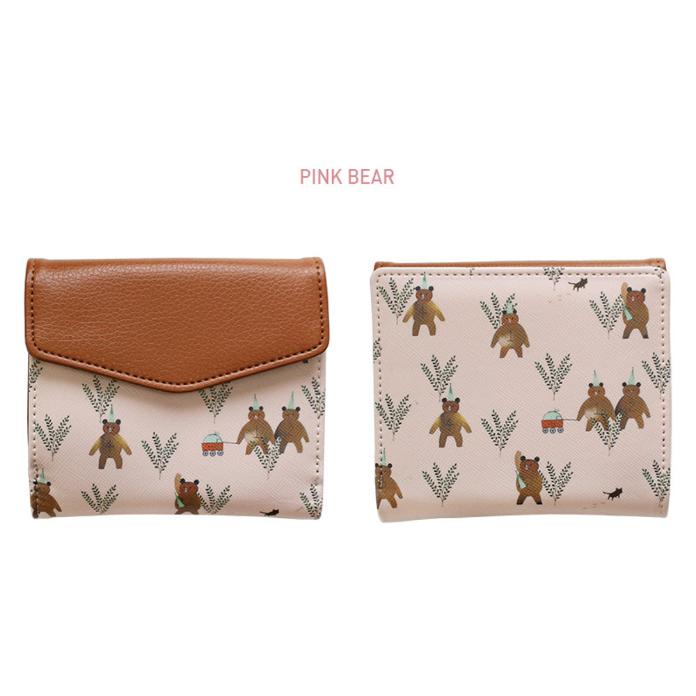Pink bear - Indigo Willow story pattern bifold wallet with coin pocket