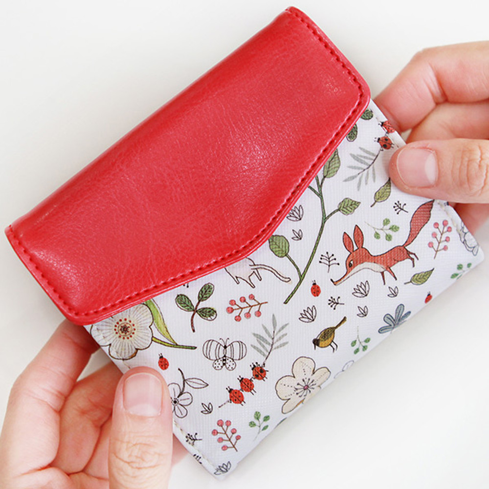 Indigo Willow story pattern bifold wallet with coin pocket