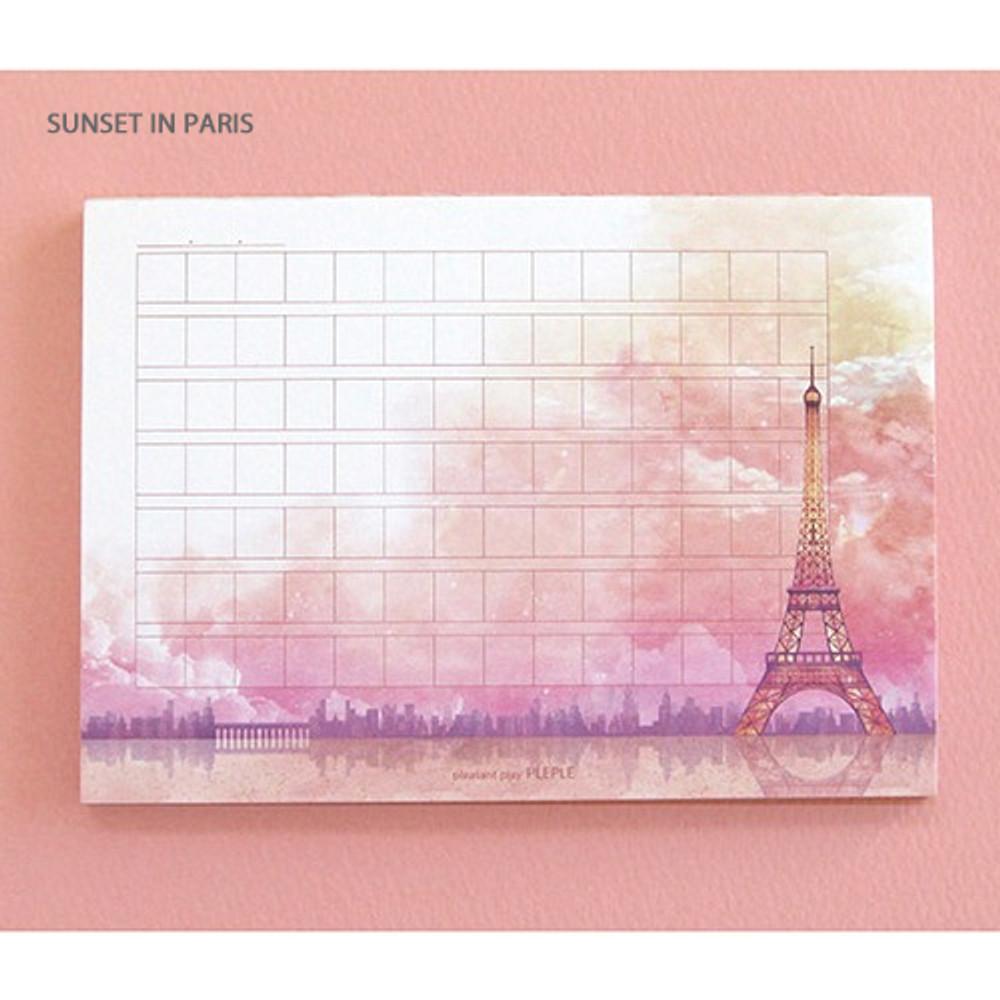 Sunset in paris - Pleple My story illustration wide squared manuscript memo notepad