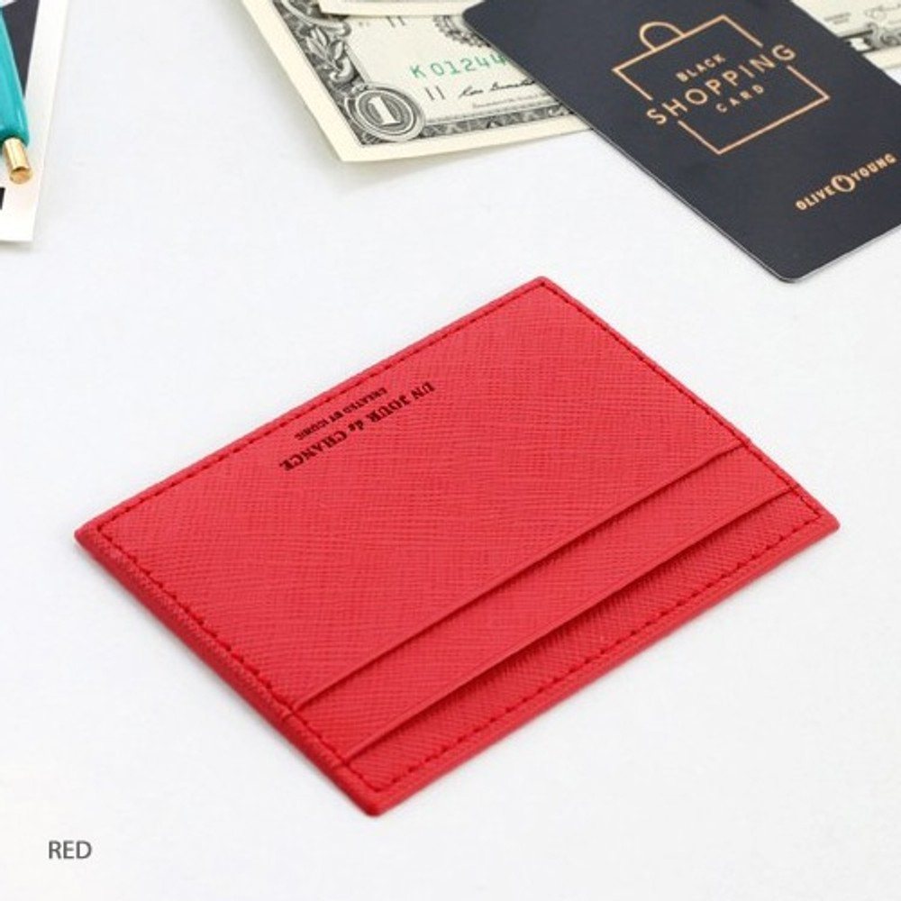 Red - ICONIC Un jour de chance flat card case holder