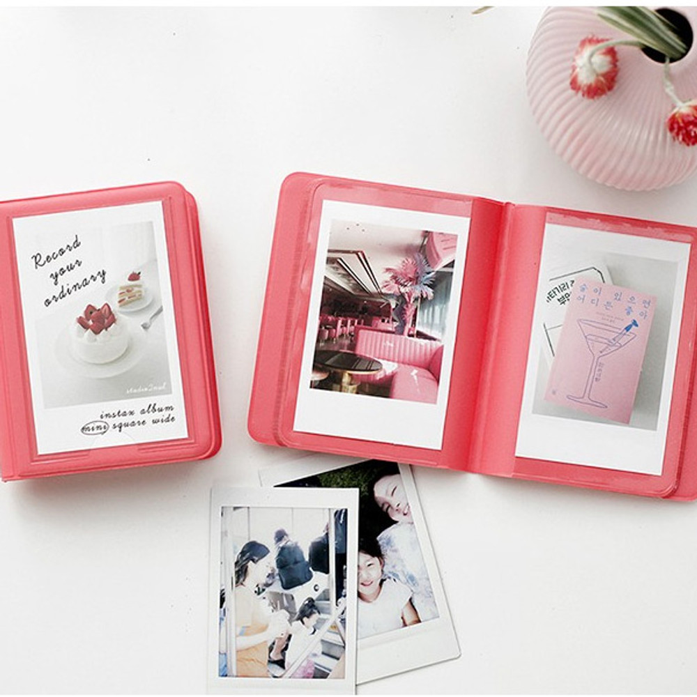 Coral pink - 2NUL Colorful Instax mini small slip in pocket photo album