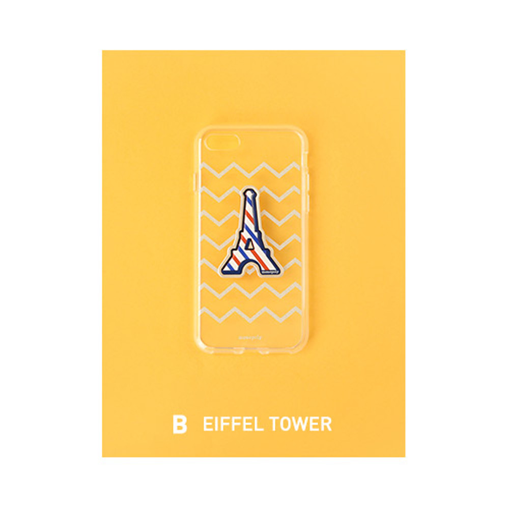 B - Eiffel tower - Leather sticker clear TPU jelly case for iPhone 7