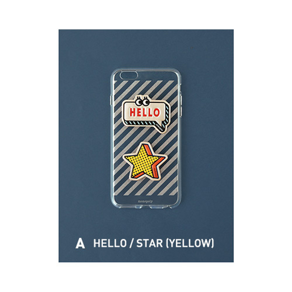 A - Hello, Star - Leather sticker clear TPU jelly case for iPhone 7 plus