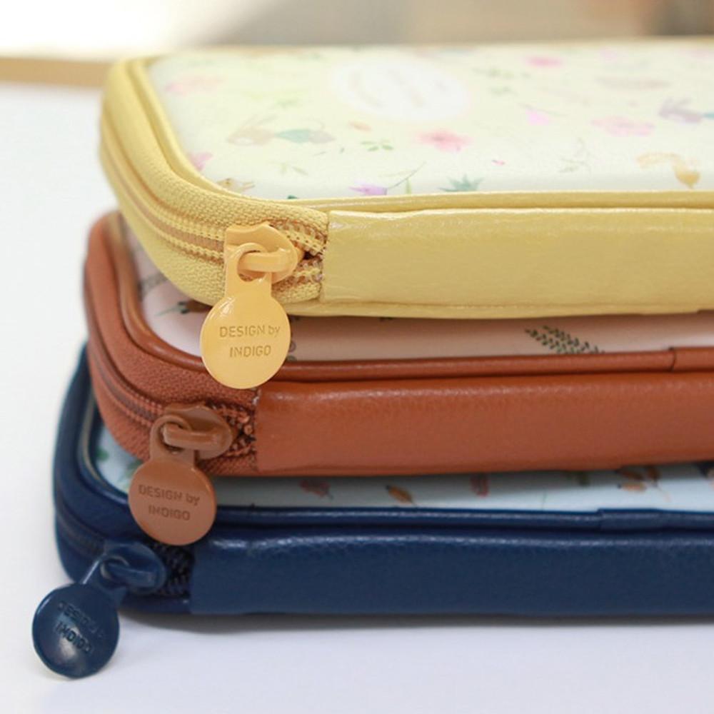 zip around - Indigo Willow story pattern zip around pencil case pouch