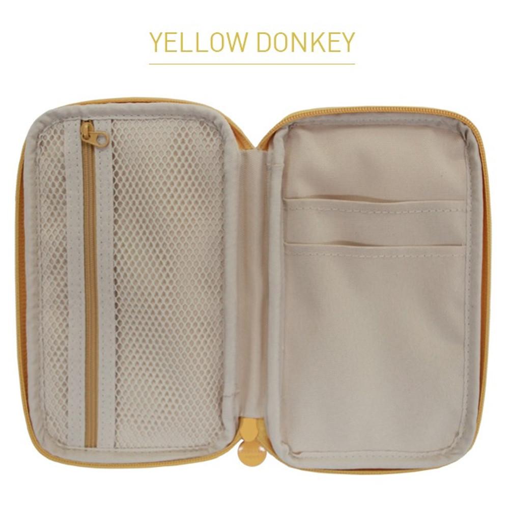 Yellow donkey - Indigo Willow story pattern zip around pencil case pouch