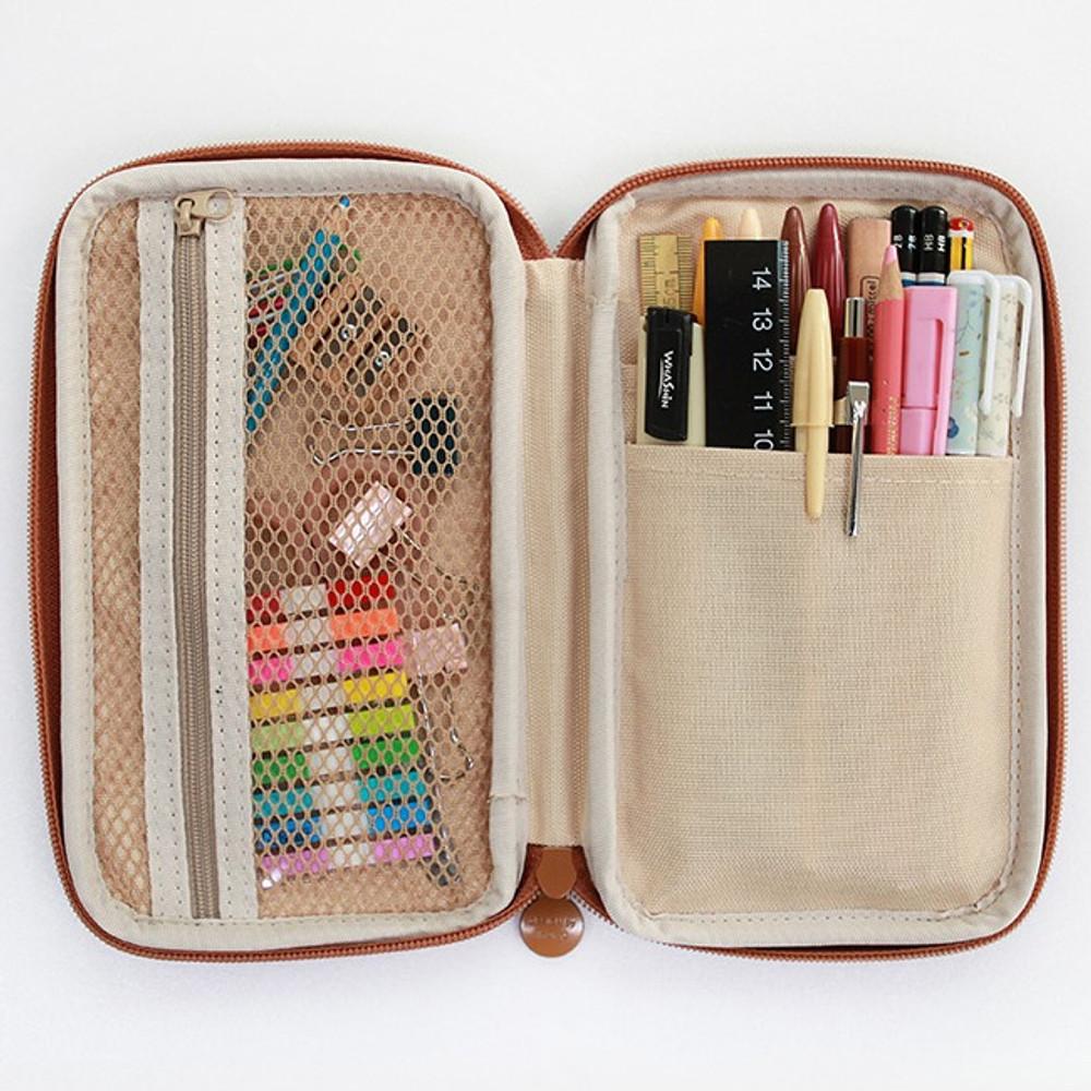 Indigo Willow story pattern zip around pencil case pouch