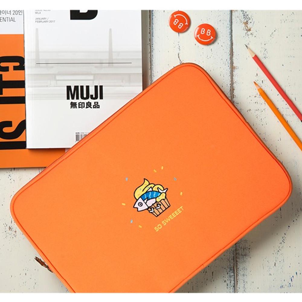 Orange - DESIGN IVY Ggo deung o eco friendly 13 inches laptop pouch case