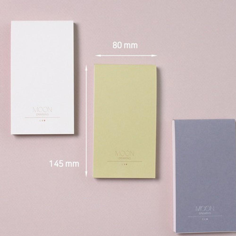 Size - Dash and Dot Moon drawing memo note pad