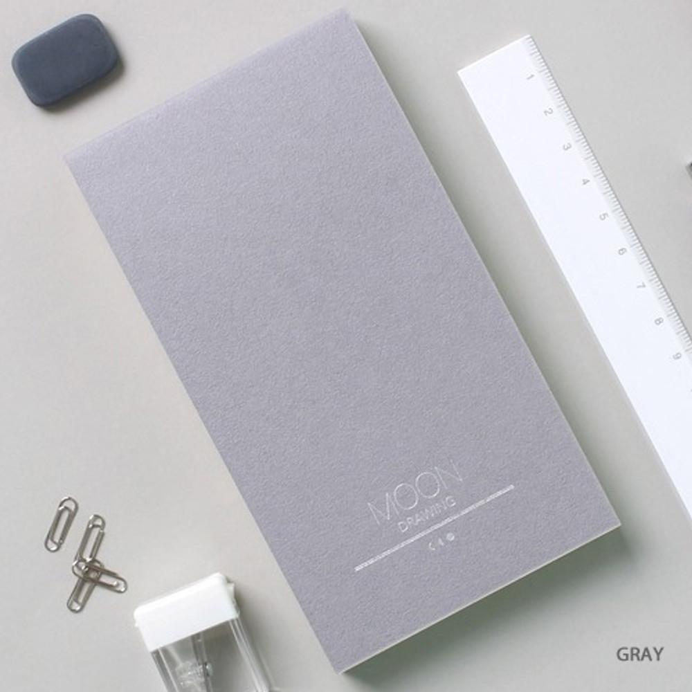 Gray - Dash and Dot Moon drawing memo note pad