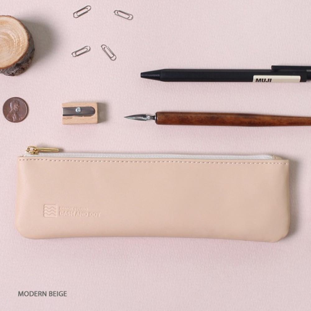 Modern beige - Dash and Dot Slim and modern zipper pencil case