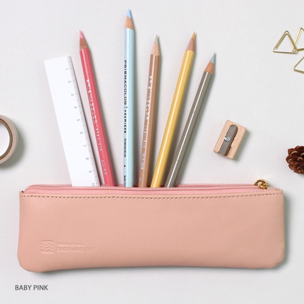 Baby pink - Dash and Dot Slim and modern zipper pencil case