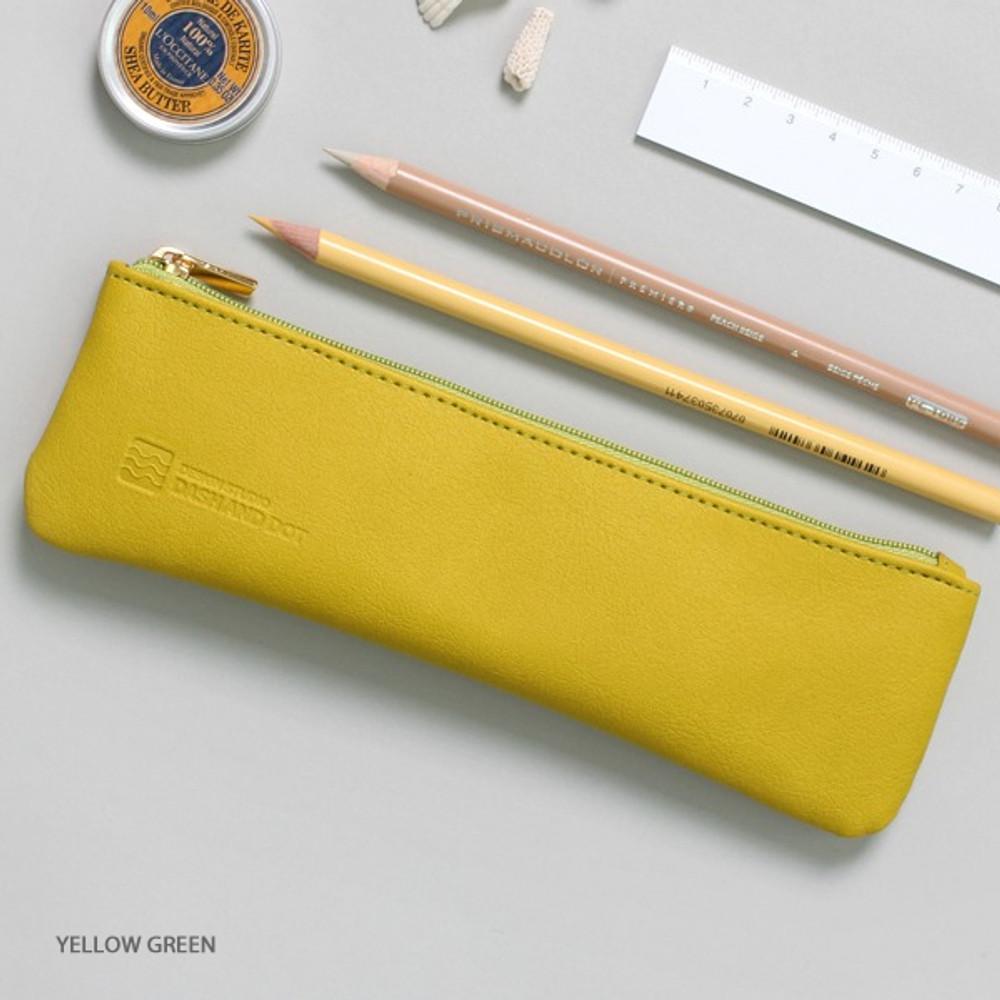 Yellow green - Dash and Dot Slim and modern zipper pencil case