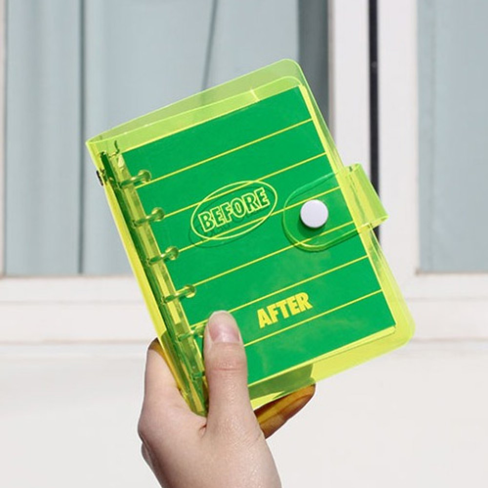 Yellow - Retro 6-ring small grid notebook with neon PVC cover