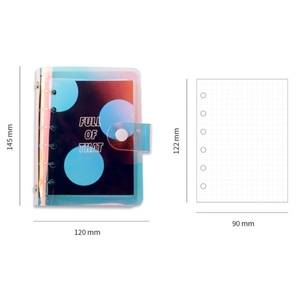 Size of Retro 6-ring small graph grid notebook