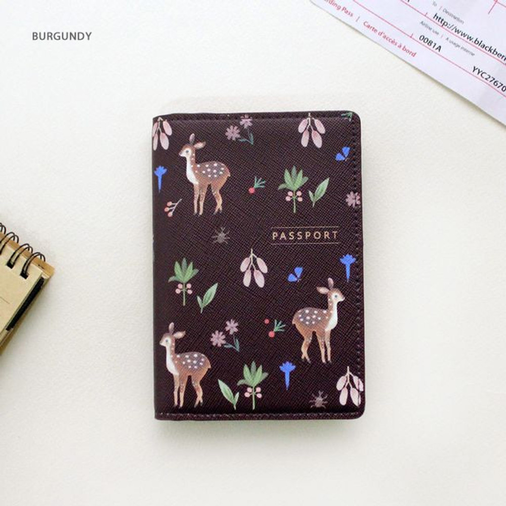 Burgundy - Rim with you pattern passport cover case holder